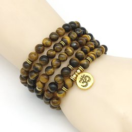 collana di perle amazonite Sconti NUOVO braccialetto di donne di modo opaco glassato perline Amazonite con Lotus OM Buddha braccialetto di yoga braccialetto 108 collana mala dropshipping
