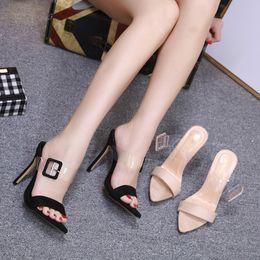 2019 Nuevo Verano Hebilla Transparente Ocio Tacones Sexy 12 cm Tacones Altos Zapatillas Al Aire Libre Blanco Jalea Zapatos Desnudo Transparente desde fabricantes