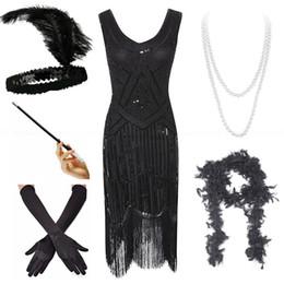 gatsby kleid plus größe Rabatt Plus Size 4XL Great Gatsby Frauen Flapper Kleider 1920er Pailletten Perlen Fransen-Kleid w / Zubehör-Set XS-XXXXL