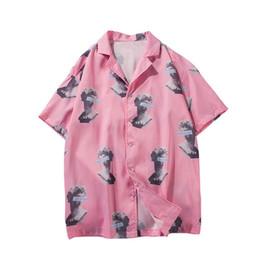 Camisa de vestir de manga corta de las mujeres online-Ropa de hombre 2019 Camisas de manga corta con cuello caído y camisa de manga corta, hombres, mujeres, vestido de hawaiano japonés, ropa de calle, camisas de harajuku.