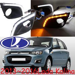 luz led led Desconto Carro-styling, Luz diurna LADA Kalina, 2013 ~ 2016, cromo, LED, Navio grátis! 2pcs, Luz de nevoeiro LADA Kalina, capas de carro, Samara, Sinete, Kalina