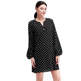 Robes ombragées en Ligne-PUSEKY Femmes Casual Manches Longues Dot Motif Loose Fit Dress Noir Rouge 2019 Date Summer Sun-shading Dress Col En V Dot Cool