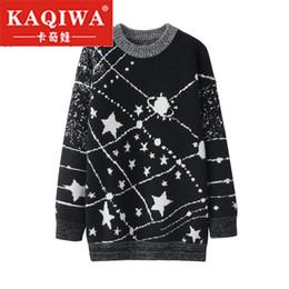 2019 ponticelli della galassia 2018 New Autumn Winter Warm Jumper Galaxy maglione Pullover allentato Knit Tops Black Star Pattern Jacquard maglione donne per sconti ponticelli della galassia