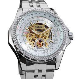 Relojes mecánicos automáticos jaragar online-JARAGAR Hombres Reloj mecánico automático Negocio Casual Reloj de esqueleto hueco Correa de acero inoxidable de lujo Relogio masculino