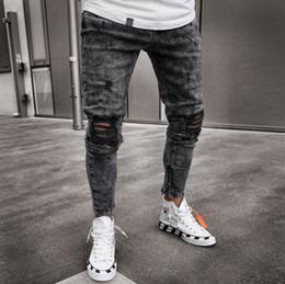 Yeni Moda Marka Erkekler Siyah Kot Sıska Yırtık Streç Ince Kanye West Hip Hop Yağma Denim Erkekler Için Motosiklet Biker Pantolon Jogger supplier swag jeans nereden kukla kot tedarikçiler