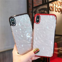 2019 diseños de caja de diamante Para iPhone XS MAX X 7 Plus galvanoplastia blanda TPU Clear Case Diamond Design cubierta del teléfono para Samsung S9 A7 A8 2018 Huawei SCA516 diseños de caja de diamante baratos