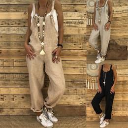 volle hülsenspitzebodysuitfrauen Rabatt Frauen Overalls Strampler Lose Hanf Einteilige Siamesische Latzhose Lässige S-XL Ärmellos Europa Mode Mode Kleidung