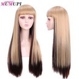 MUMUPI Uzun Siyah Kadın Cosplay Isıya Dayanıklı Saç için Bangs Sarışın Ombre Kahverengi Peruk ile Düz Sentetik Peruk nereden uzun doğal kaçık kıvırcıklar tedarikçiler