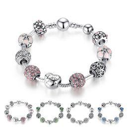 2019 baby mädchen perlen armbänder Heiße Art Feine tibetischen Silber Armband Pandora Glasperlen DIY Perlen Strang Armband Rosa Weiß Blau Grün 4 Farben BFJ795