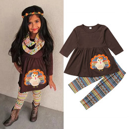 fille de tenue de thanksgiving bébé Promotion 2pcs / lot Thanksgiving bébé fille tenue robe de dinde et pantalon à rayures décontractée mode enfants vêtements 3-8 T