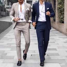 Männer formales outfit online-Noble Hochzeit Smoking Herren Anzüge Slim Fit Bräutigam Smoking Für Männer Zwei Stücke Groomsmen Kleidung Bräutigam Outfit Günstige Formelle Business Jacken