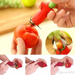Tomaten obst gemüse online-Heiße Erdbeerentomaten Corer Stem Huller Remover Stiele Stem Remover Strawberry Feeder Obst Gemüse Graben Werkzeuge