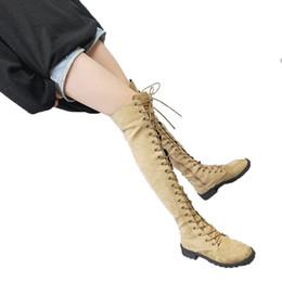 Femmes en cuir lacet côté fermeture à glissière Overknee rond bandage bottes d'hiver fond épais automne automne ? partir de fabricateur