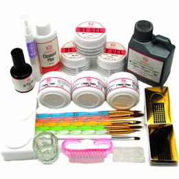 kits de uñas acrílicas formas Rebajas Coscelia UV Gel Acrílico en polvo Juegos 120ml Pinceles Nail Art Tips Base Kit Forma Top Coat Kit para herramientas de manicura Set