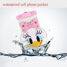 2019 handyausrüstung Wasserdichte Handytasche für Schwimmbad Tragbare Karikatur Wasserdichte Tasche Schwimmzubehör für Touchscreen-Telefon günstig handyausrüstung