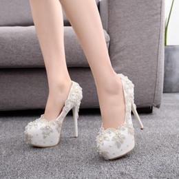 2019 día de la boda talones Zapatos de boda Novia Tacones Bombas de cristal Día Fiesta de noche Lujo 14 cm Tacón cuadrado Talla grande Blanco Azul rebajas día de la boda talones