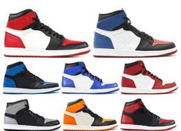 chocolates de pato Desconto HOT top designer shoes homens 1 og sapatilhas qualidade pato mandarim preto vermelho branco homens sapatos casuais tênis formadores de atletismo