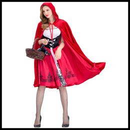 cosplay kostüme rote reithaube Rabatt New Angekommen Frauen Halloween Anzug Designer Frauen Anzüge Luxus Rotkäppchen Damen-Kostüm Umhänge + Kleider Größe S-XL Cosplay