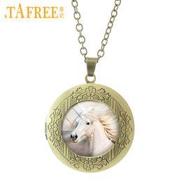 Vintage silber-medaillons online-Tafree weißes pferd medaillon halskette trendy vintage tier anhänger halsketten aussage qualität männer frauen schmuck geschenke n560