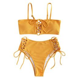 Zaful Bikini a vita alta Set donna Lace Up Bikini fascia alta Costumi da bagno giallo Costume da bagno per donna 2019 Biquini Feminino J190519 da
