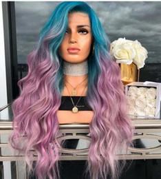 Большие парики волос волны онлайн-Европейский и американский Новый голубой градиент Фиолетовый окрашенная Локоны Синтетический волос Большая волна Cosplay Парик Natural Long Полный вьющихся волос