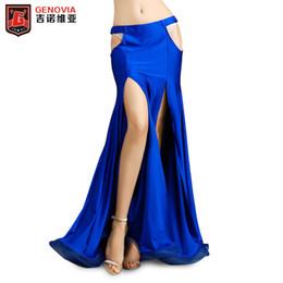 Сексуальная юбка для танца живота онлайн-Sexy Slits Юбка Женщины Belly Dance Юбка Женщины Профессиональный Костюм Танец Живота Платье