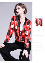 Veste crème femmes s en Ligne-2019 nouvelles femmes manteau court mode léger glace cuite impression veste couleur rouge taille de S-XL
