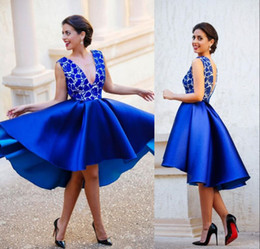 2019 elie saab vestido de cocktail branco Elegante Azul Royal Lace Appliqued Vestidos de Cocktail Curtos Sexy Com Decote Em V Homecoming Vestido de Festa Barato Mini Clube Desgaste Prom Vestidos de Noite