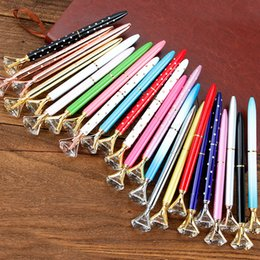 2019 fornecedores de cristal Big diamante caneta esferográfica Student strass escrita canetas coloridas Bola de Cristal FFA3067 fornecedores canetas canetas de ponta de metal partido presente fornecedores de cristal barato
