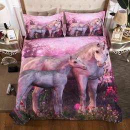 Juegos de cama de caballos reina online-Caballo rosa / Unicornio impreso de cama Ropa de cama de la cubierta completa Doble Queen King Super King Tamaños ropa de cama juego de edredón para la cubierta 3 pcs