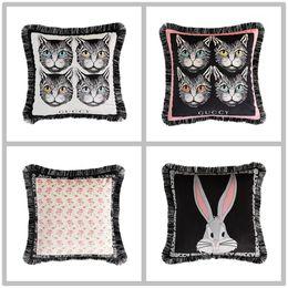 Argentina almohada de lujo almohadas de lujo funda de cojín moda súper suave de doble cara holandés cachemir gato conejo almohada de impresión Nordic cojín del sofá Suministro