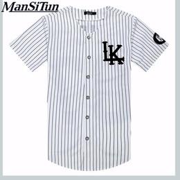 Ropa tyga online-Nuevo estilo del verano del hombre de las camisetas de moda 2019 de Calle Camisa de Hip Hop camiseta béisbol jersey a rayas de los hombres ropa Tyga M-XXL Y190513