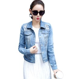bb643b05c491c Ladies Spring Denim Jacket For Women 2019 Long Sleeve Chaqueta Mujer Short  Slim Pearls Jeans Jacket Women Sequin Denim Coat D694 short blue jean  jackets on ...