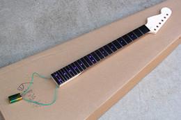 nouveau manche de guitare électrique avec lumière bleue, manche en palissandre, poupée inversée, 24 frettes, 6 cordes, offrant des services sur mesure ? partir de fabricateur