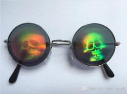 e4e4de681 Promotional-Harajuku zipper 3D laser eye skull Mama pattern Funny holiday  party bar vintage round mirror sunglasses men and women Prince