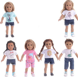 cloth for style Promo Codes - 7 Styles T-shirts Pants Shorts Suit for 18 inch American girl Doll Mark type and quantity