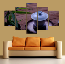 tea wall decor Promo Codes - Tea Cup Tea Ceremony Unframed Painting 5 Panels Canvas Wall Art Living Room Decor Modern Artwork Prints Poster