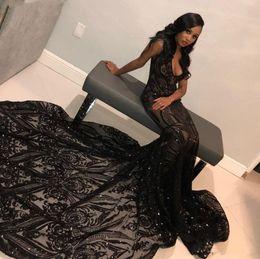 vestidos formais para meninas tamanho 14 Desconto Sul Africano Longo Sereia Vestidos de Baile V Pescoço Apliques de Lantejoulas Plus Size Vestidos de Noite Dubai Meninas Negras Traje Formal Abendkleider