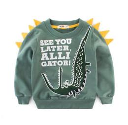 2019 roupas grossistas por atacado para crianças Roupas infantis Blusas de Bebê Outono Mais Recente Moda Crianças Blusas de Lã de Algodão letras de Dinossauro Para Crianças Sweatershirt B11