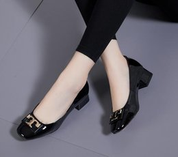 27559f94206 NEW Women metal button Kitten Heel Dress Shoes Bright leather wedding shoes  female high-heeled thick heel platform round toe fashion shoes