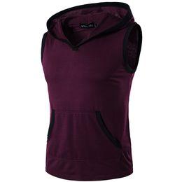 С воротником онлайн-2019 New Hot Men's Summer Round Collar Hit Color Hooded Pullovers Sleeveless Sweatshirt Casual Bodybuilding Vest Tank Tops