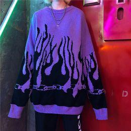 2019 женские свитера Autumn Winter Harajuku Flame Knitting Batwing Sleeve Sweater Women Tide Outerwear Loose Pullover