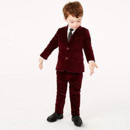 Duas Peças Burgundy Boy's Formal Wear 2 Botões Entalhado Lapela do Miúdo Terno Set para o Casamento Tailor Made Criança Blazer De Veludo e Calças de