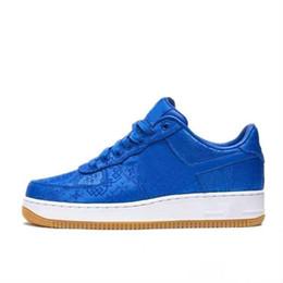 CLOT x 1 un juego de primera calidad real de seda azul del monopatín Zapatos Mujer Hombre Formadores Chaussures las zapatillas de deporte