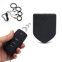 Anéis eletrochoque on-line-Silicone elétricos Estimulador ampliador do pénis Anéis para controle remoto Homens sem fio Electro choque Penis Rings Cock Rings Medical Sex Toys