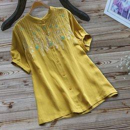 Deutschland ISHOWTIENDA Sommer Bluse Frauen Vintage Stickerei Casual Button Kurzarm Leinen Top Shirt Bluse Blusas Mujer De Moda 2019 supplier linen blouses tops Versorgung