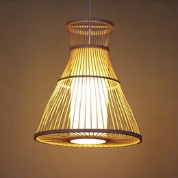 Deutschland Bambus Wicker Rattan Welle Schatten Anhänger Leuchte rustikale Vintage japanische Lampe Suspension Home Indoor Esstisch Zimmer supplier rustic dining room lights Versorgung