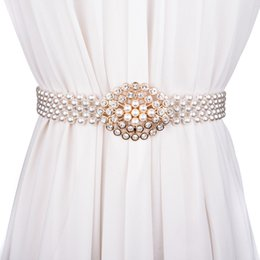 Casamento elegante fivelas on-line-Luxo Mulheres Pérola Belt Para Vestido Elegante Buckle Floral plástico cheio de pérolas Decoração Rhinestone Wedding Belt cintura elástica 121