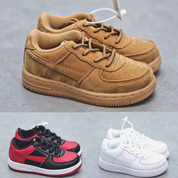 Top scarpe per bambini online-Nike Air Force one af1 td Infant one 1 Scarpe da corsa per bambini Banned Triple bianco Low top New Born Baby Bambini toddler Scarpe da ginnastica casual