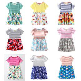 Robes de coton de flore de filles en Ligne-Robes de plage pour bébés filles 31 motifs 100% coton coloré à rayures Flora Lapin Singe Perroquet Dinosaure Paon Papillon Imprimé Appliqué B11
